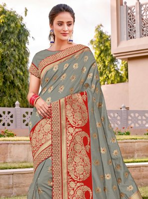 Silk Silk Saree in Grey