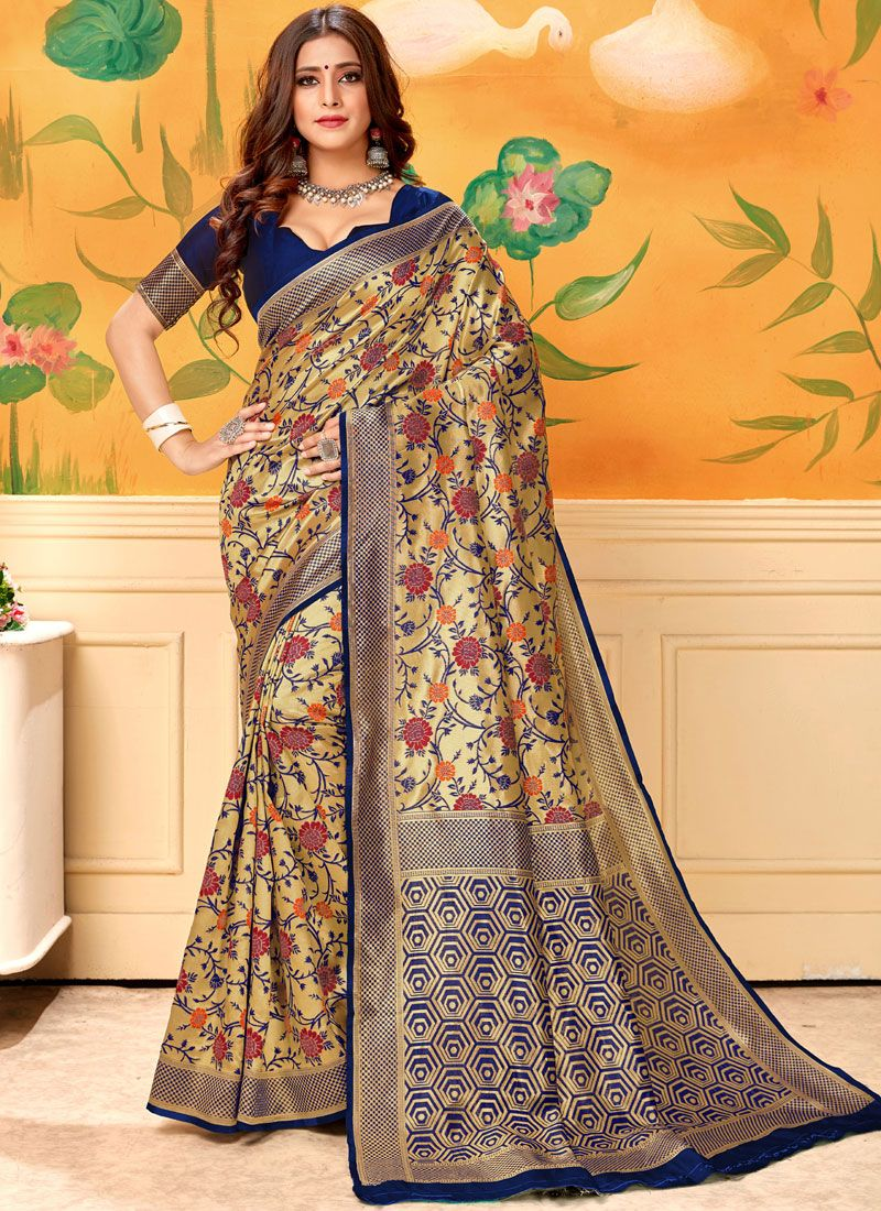Silk Silk Saree in Navy Blue