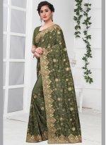 Silk Stone Green Classic Designer Saree