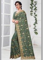 Silk Stone Green Traditional Saree