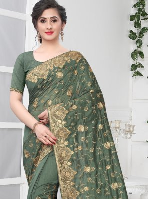 Silk Stone Green Traditional Saree