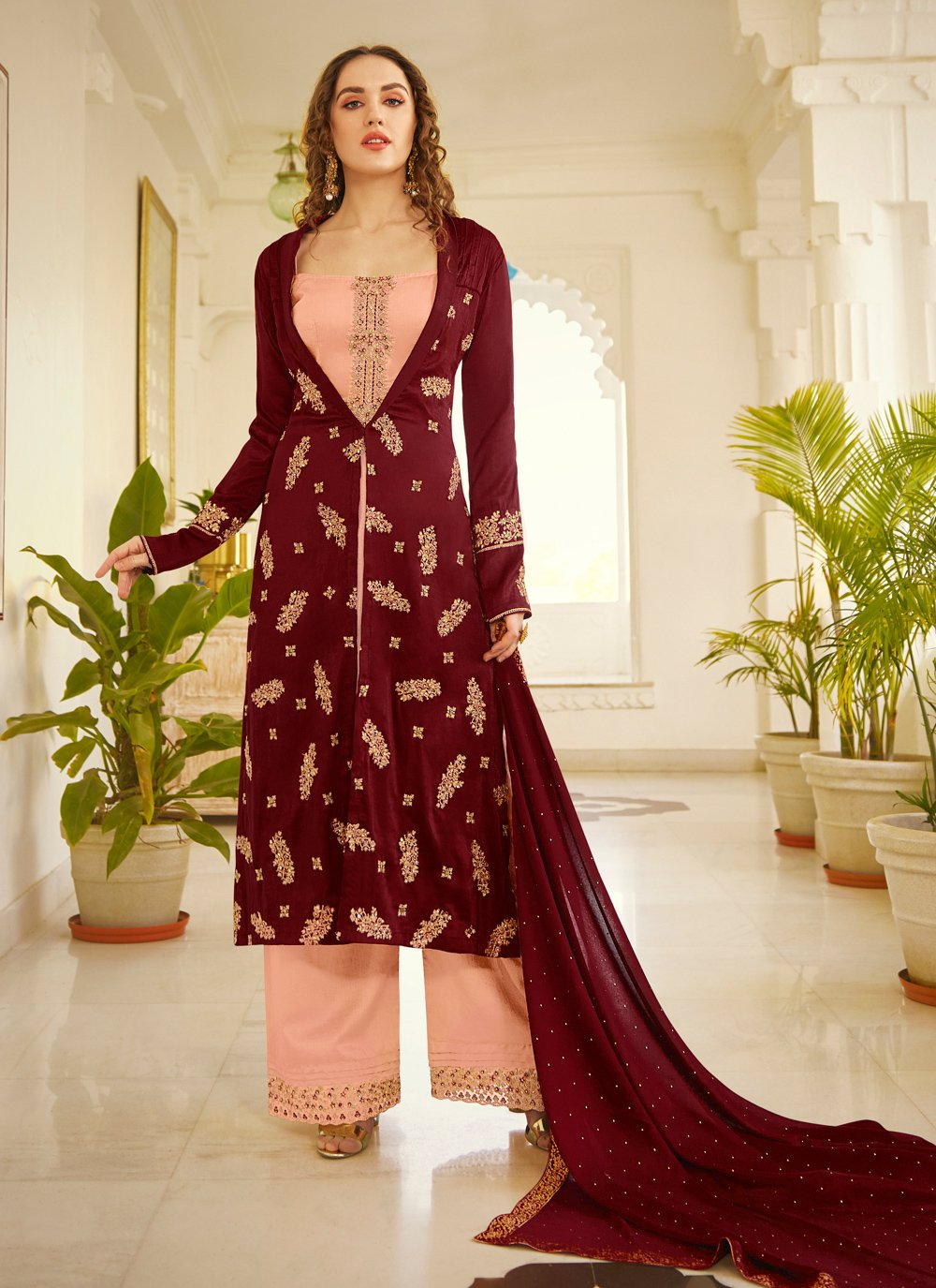 Silk Stone Jacket Style Salwar Suit in Maroon and Peach