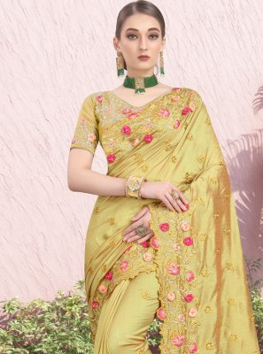 Silk Stone Mustard Bollywood Saree