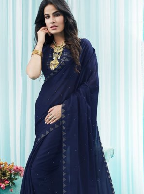 Silk Stone Navy Blue Designer Saree