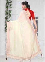 Silk Stone Off White Traditional Saree