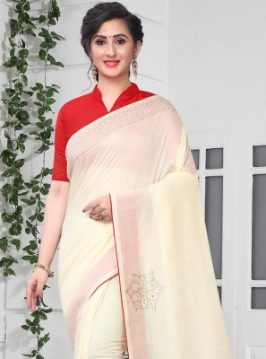 Silk Stone Off White Traditional Saree