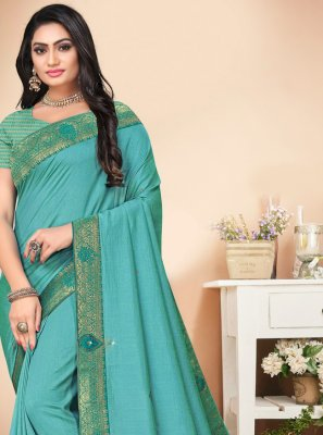 Silk Stone Trendy Saree in Aqua Blue