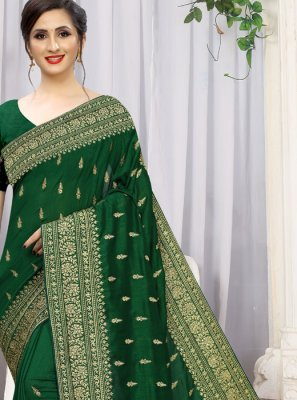 Silk Stone Work Green Traditional Saree
