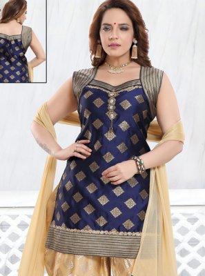 Silk Stone Work Navy Blue Designer Salwar Kameez