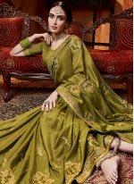 Silk Stone Work Trendy Saree in Green