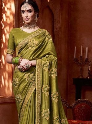 Silk Stone Work Trendy Saree in Green