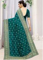 Silk Teal Classic Designer Saree