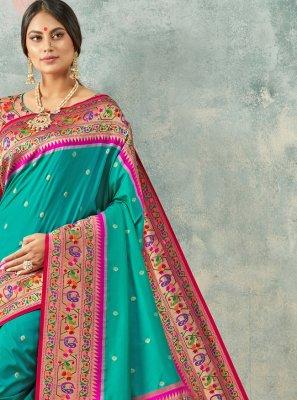 Silk Teal Classic Saree