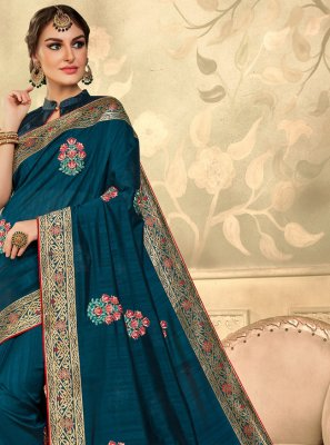 Silk Teal Embroidered Classic Saree