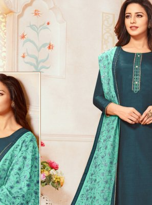 Silk Teal Embroidered Trendy Suit