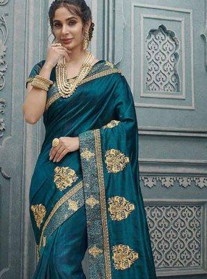 Silk Teal Silk Saree