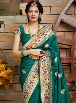 Silk Teal Weaving Silk Saree