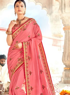 Silk Thread Pink Classic Saree