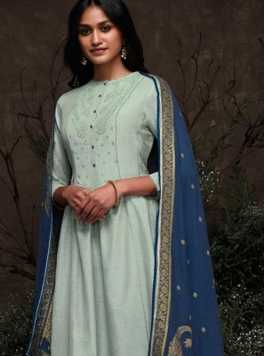 Silk Thread Work Aqua Blue Pakistani Salwar Suit