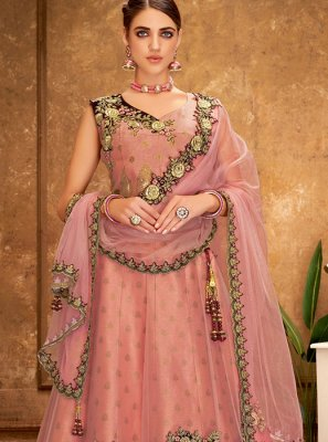 Silk Thread Work Peach Designer A Line Lehenga Choli