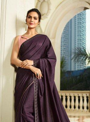 Silk Thread Work Purple Silk Saree