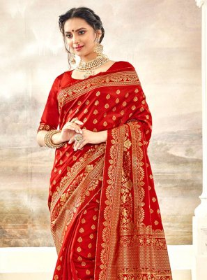 Silk Thread Work Red Classic Saree