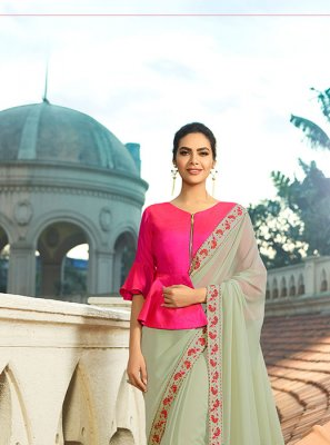 Silk Thread Work Trendy Saree
