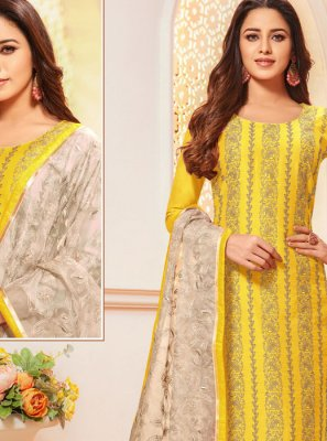 Silk Thread Yellow Designer Salwar Suit