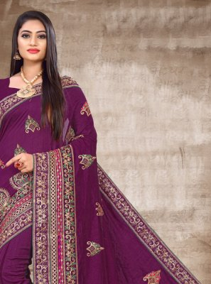 Silk Traditional Saree in Purple