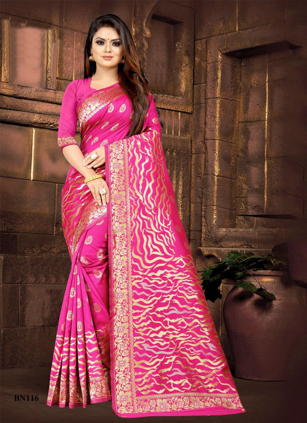 Silk Traditional Saree in Rani