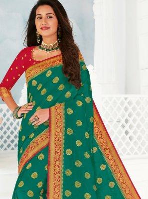 Silk Traditional Saree in Sea Green