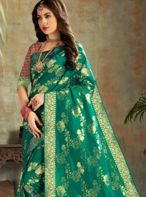 Silk Traditional Saree in Teal