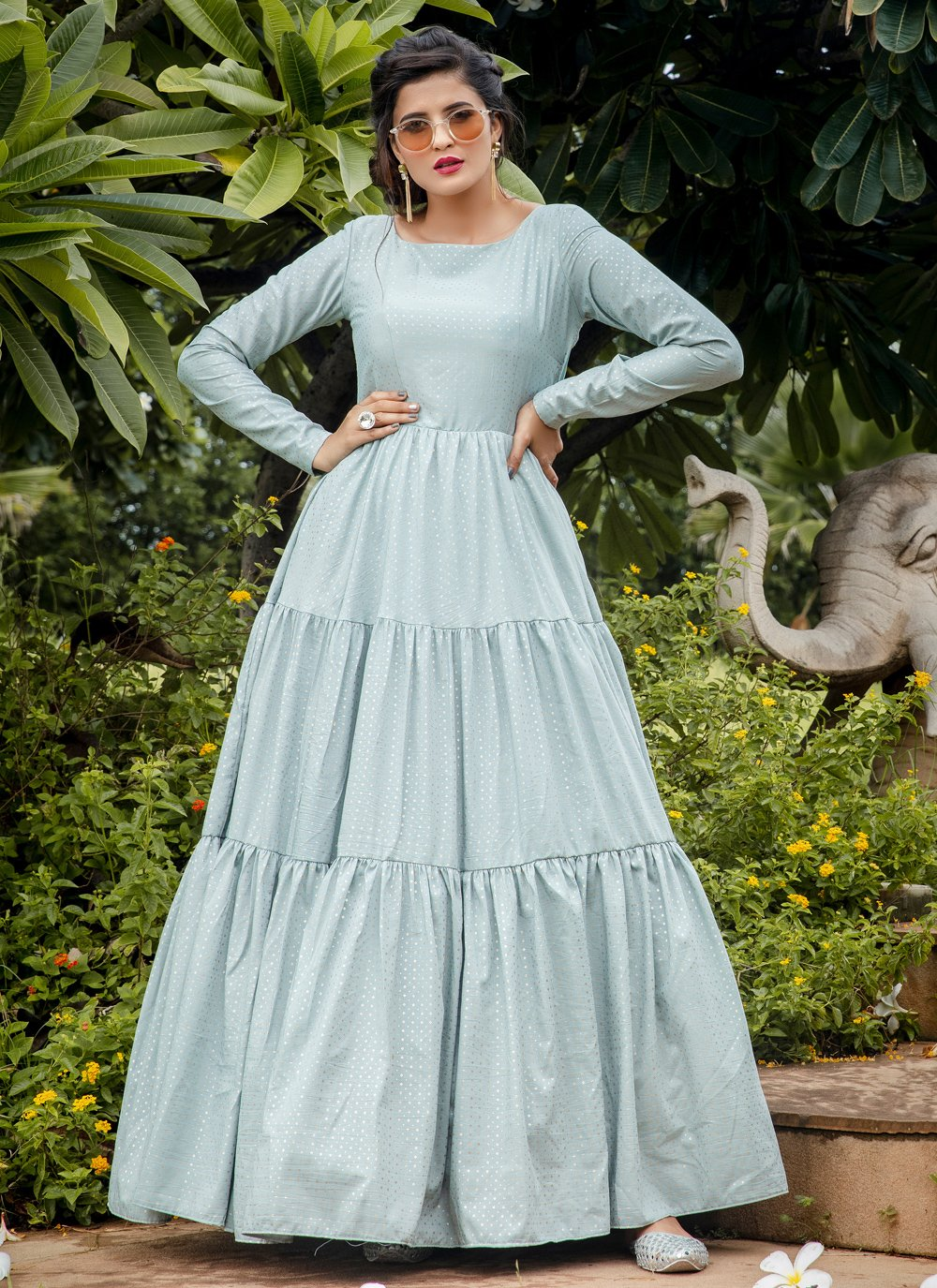 Silk Trendy Gown in Blue