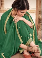 Silk Trendy Salwar Kameez in Green