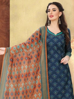 Silk Trendy Salwar Suit in Blue