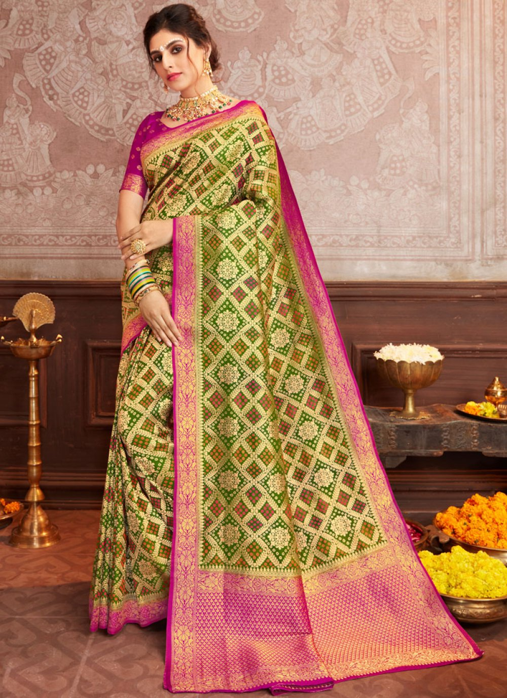 Silk Trendy Saree in Green and Magenta