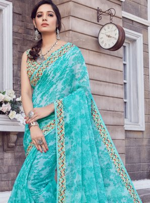 Silk Turquoise Printed Classic Saree