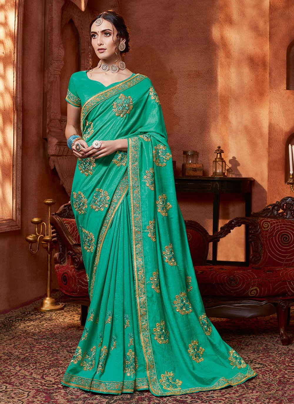 Silk Turquoise Resham Traditional Saree