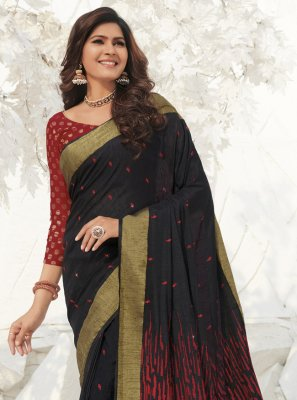 Silk Weaving Black Classic Saree