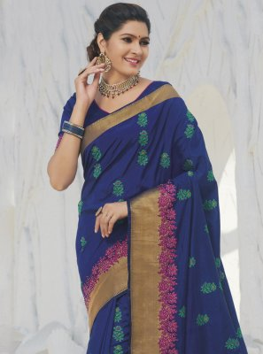 Silk Weaving Blue Classic Saree