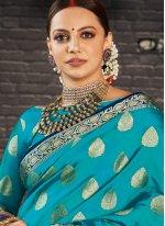 Silk Weaving Blue Classic Saree