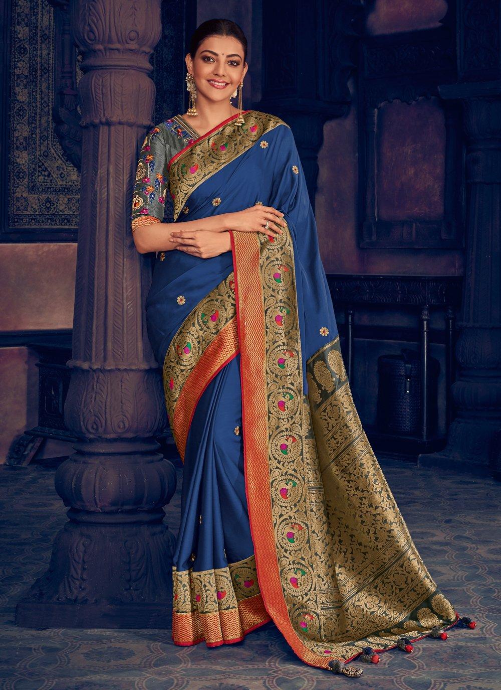 Silk Weaving Blue Traditional Designer Saree