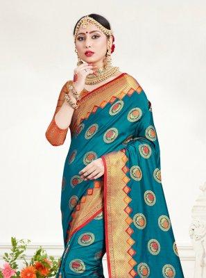 Silk Weaving Blue Trendy Saree