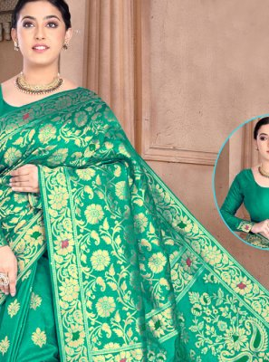 Silk Weaving Classic Designer Saree in Green