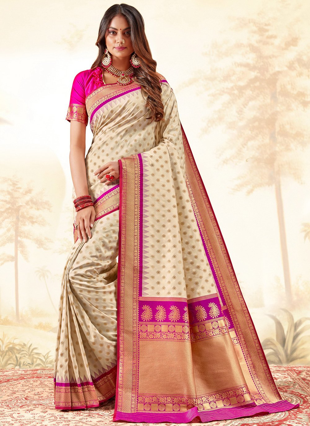 Silk Weaving Classic Saree in Cream