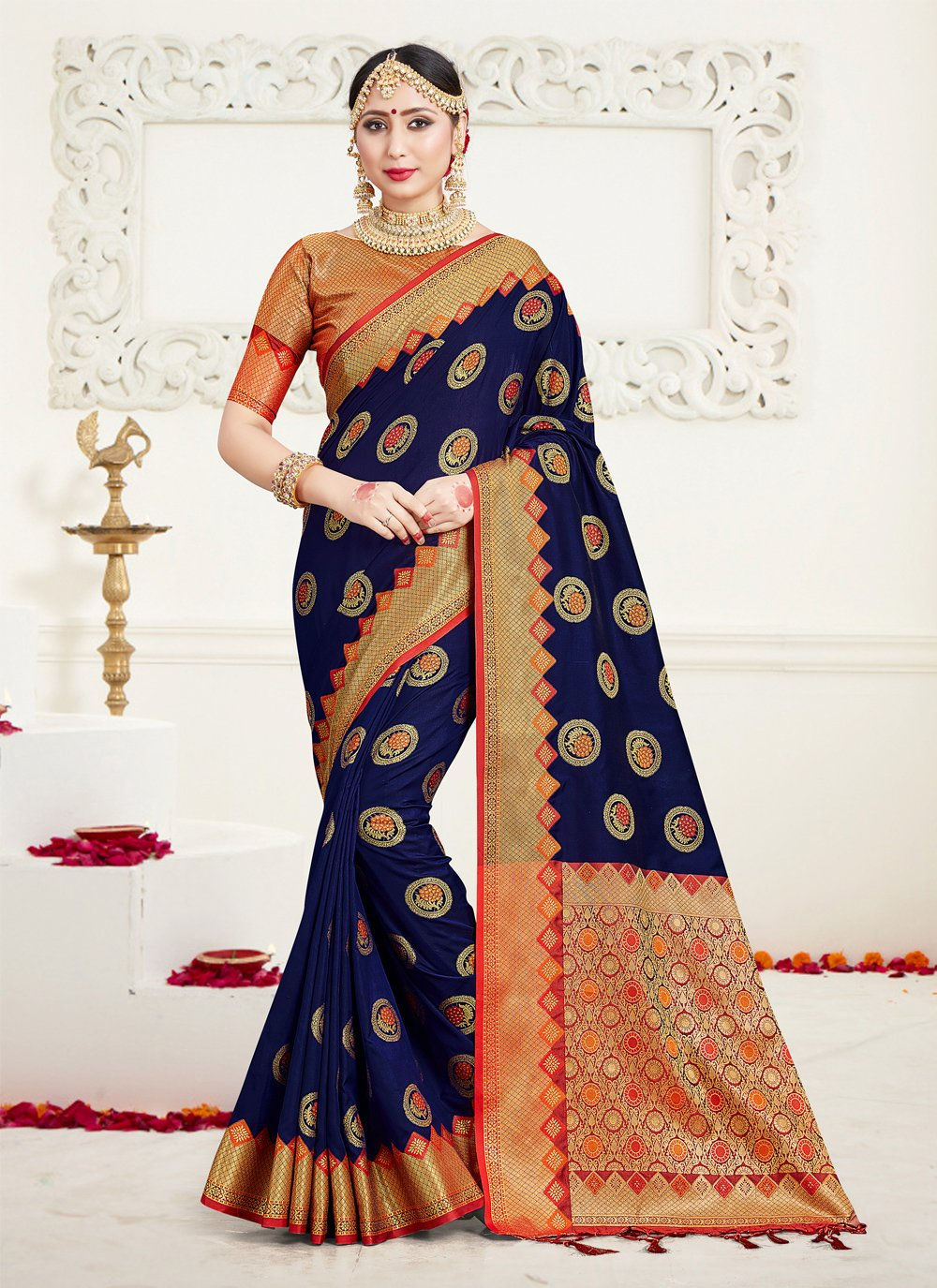 Silk Weaving Classic Saree in Navy Blue