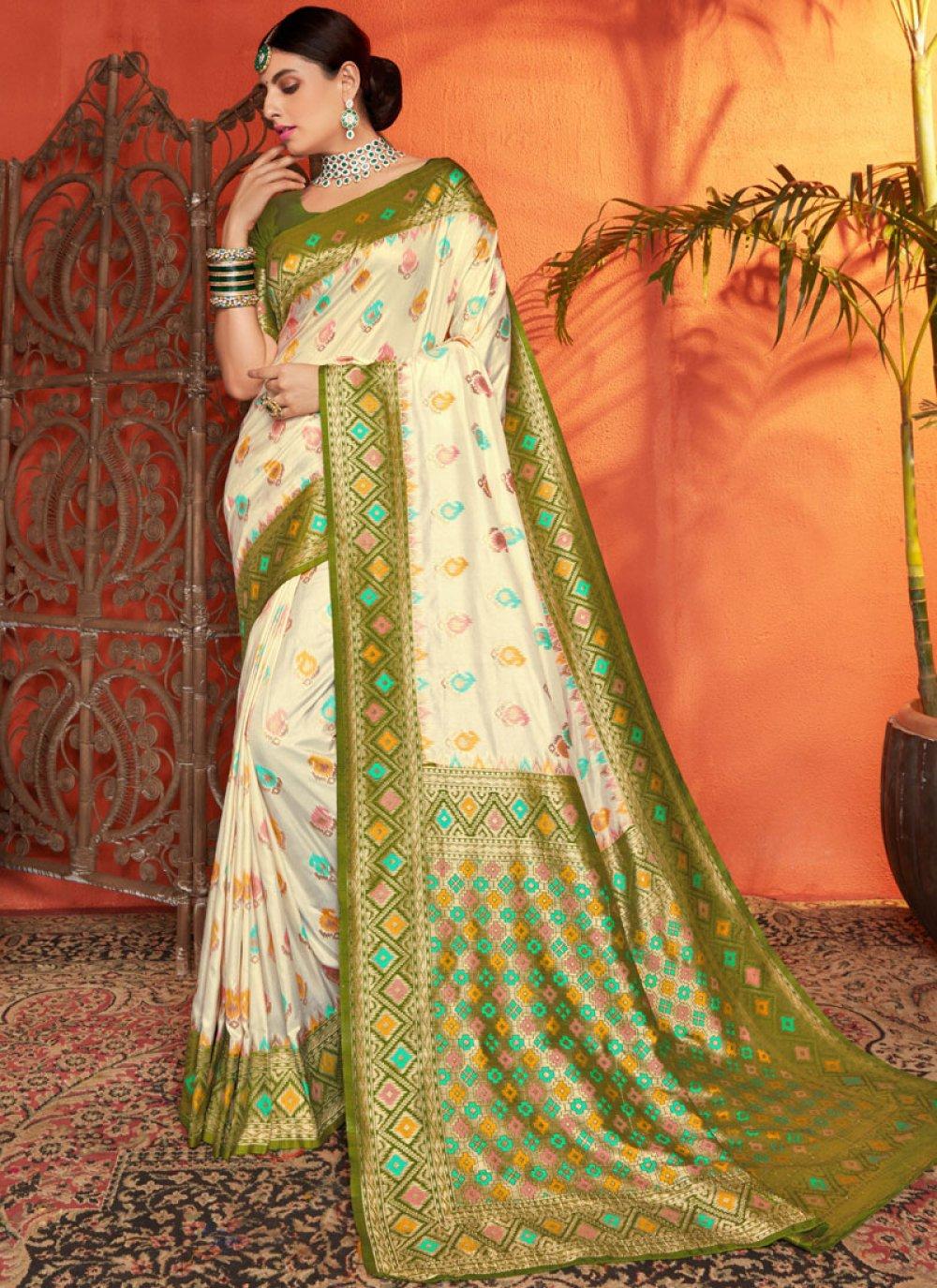 Silk Weaving Cream and Green Trendy Saree
