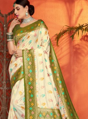 Silk Weaving Cream and Green Trendy Saree