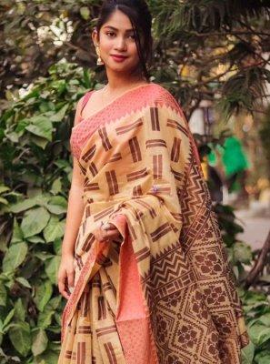 Silk Weaving Cream Classic Saree