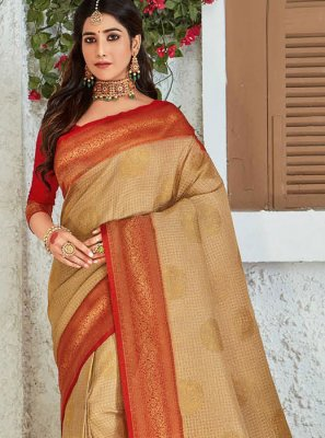 Silk Weaving Designer Saree in Cream